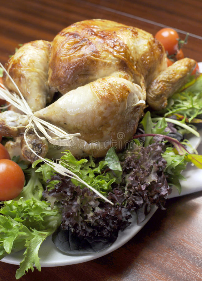 Christmas or Thanksgiving roast chicken turkey dinner - Vertical. stock image