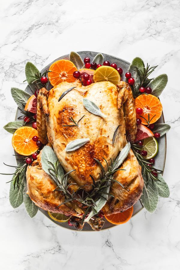 Christmas or Thanksgiving turkey. Prepeared roasted turkey for festive dinner royalty free stock photo