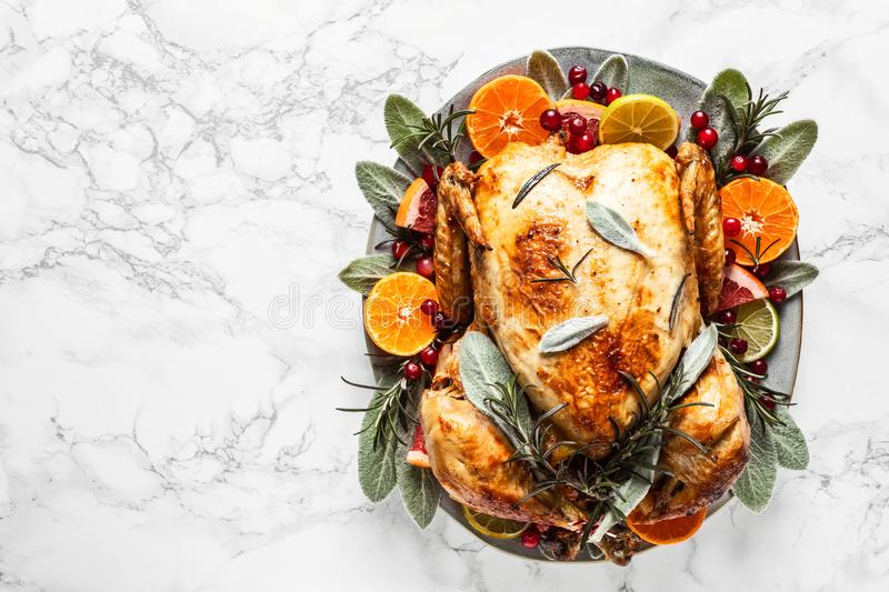 Christmas or Thanksgiving turkey. Prepeared roasted turkey for festive dinner royalty free stock image