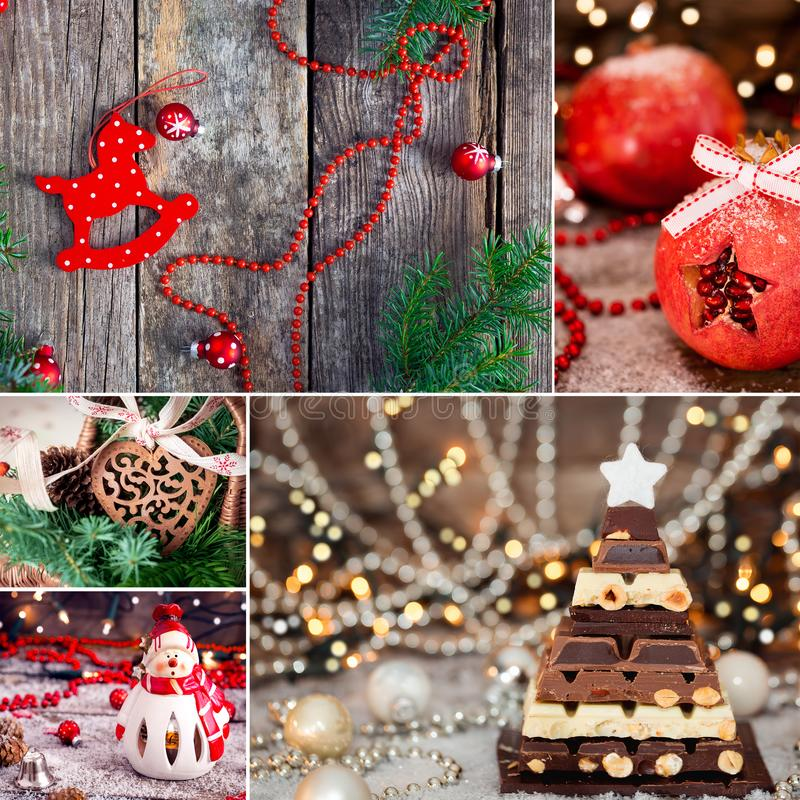 Christmas thematic collage. In brown and red colors - chocolate, pomegranate and Christmas decoration royalty free stock image