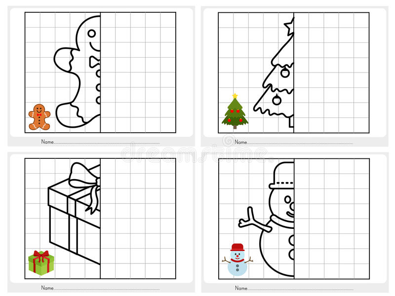 Christmas theme activity sheet - Symmetrical picture. Worksheet for education stock illustration