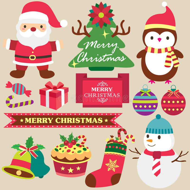 Christmas theme clip art set royalty free illustration