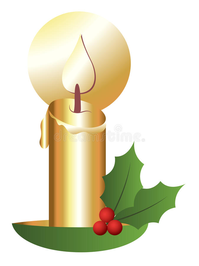 Download Christmas Theme Holy Leaves With Candle Stock Illustration - Illustration: 30371533