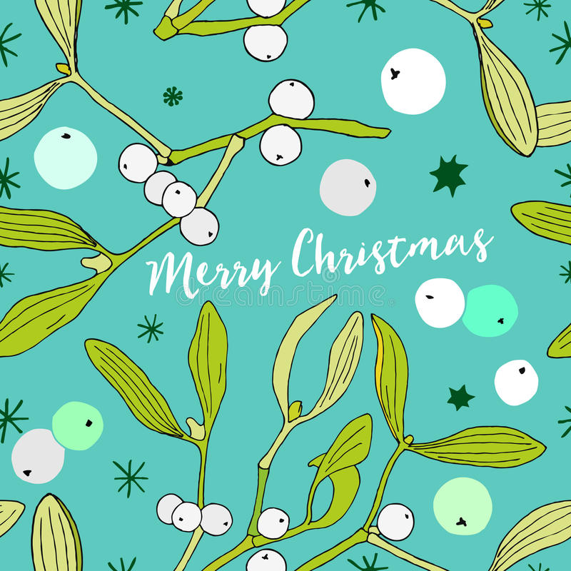 Christmas theme with mistletoe and berries, decorative seamless background with mistletoe and stars royalty free illustration