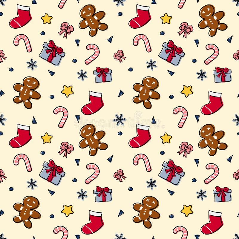 Christmas theme random repeat pattern vector illustration stock image
