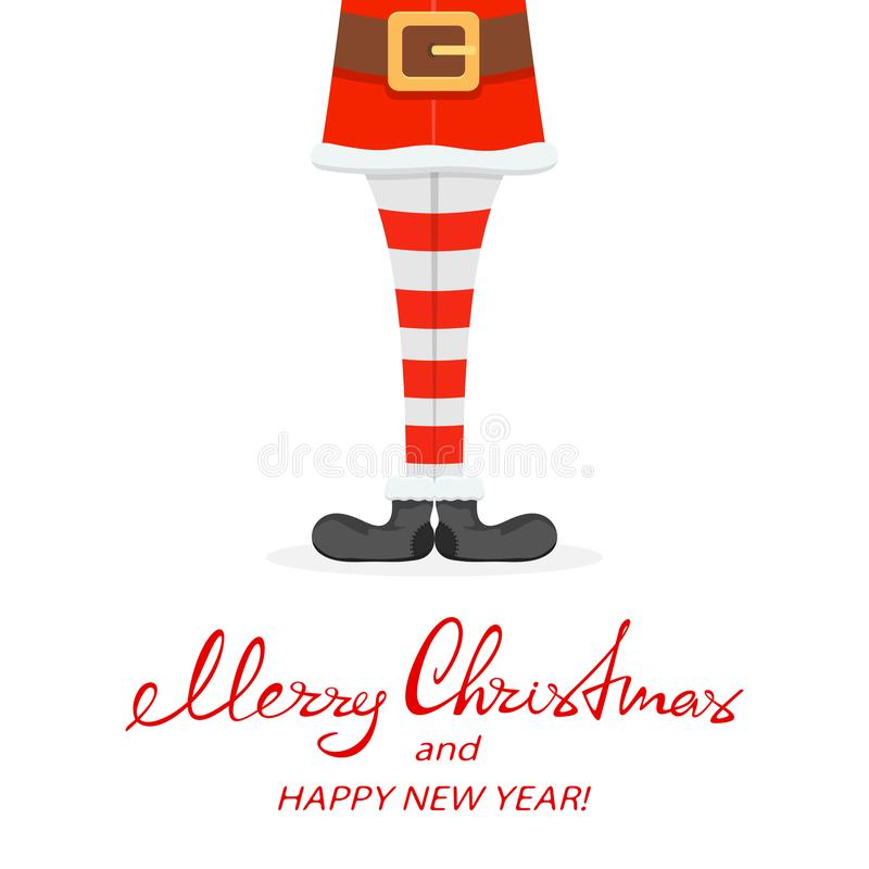 Christmas theme with Santa legs. Lettering Merry Christmas and Happy New Year with Santa legs in striped socks and black shoes isolated on white background stock illustration
