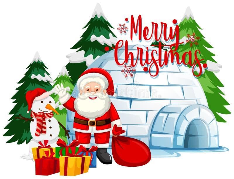 Christmas theme with Santa and snowman stock photos