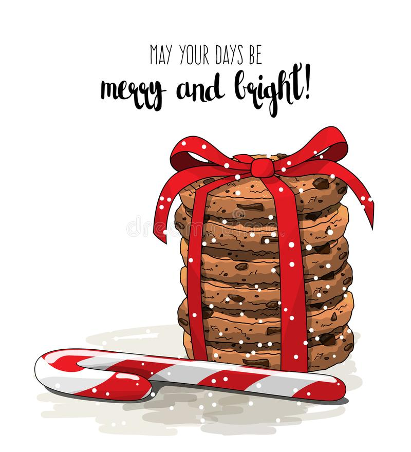 Christmas theme, stack of cookies an one candy cane, illustration vector illustration