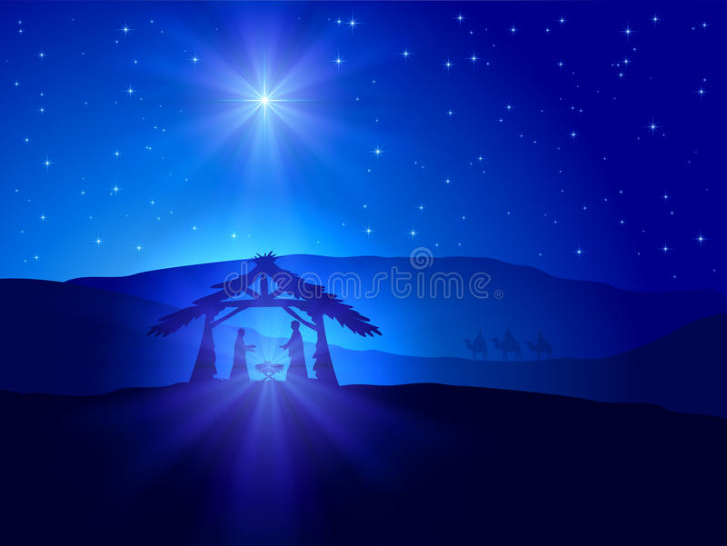 Christmas theme with star. Christian Christmas scene with shining star on blue sky and birth of Jesus, illustration