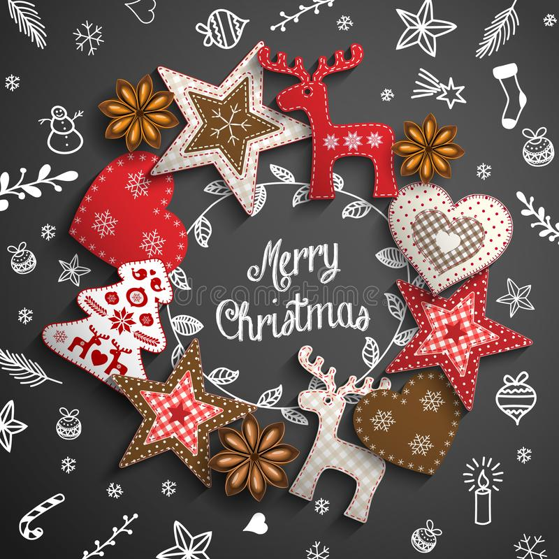 Christmas theme with white doodles and ornaments royalty free illustration