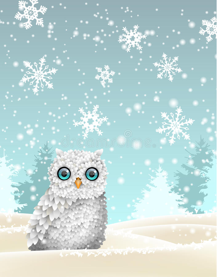 Free Christmas Theme, White Owl Sitting In Snowy Landscape, Illustration Stock Photos - 78197273