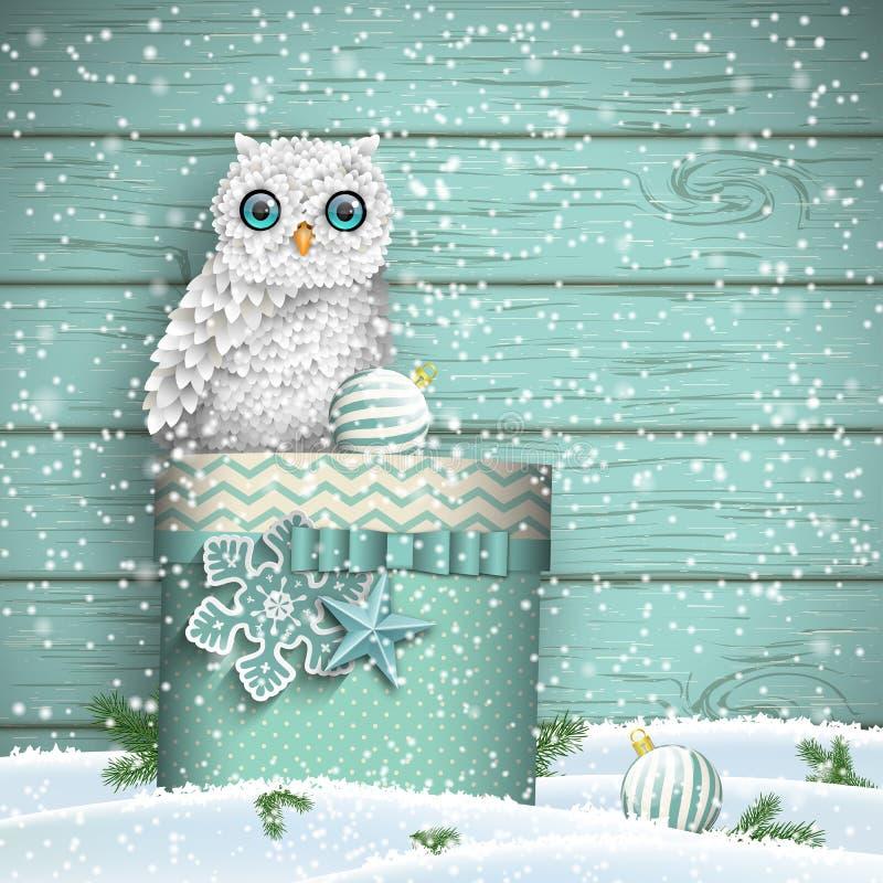 Free Christmas Theme, White Owl Sitting On Blue Gift Box In Snow, Illustration Stock Image - 78560101