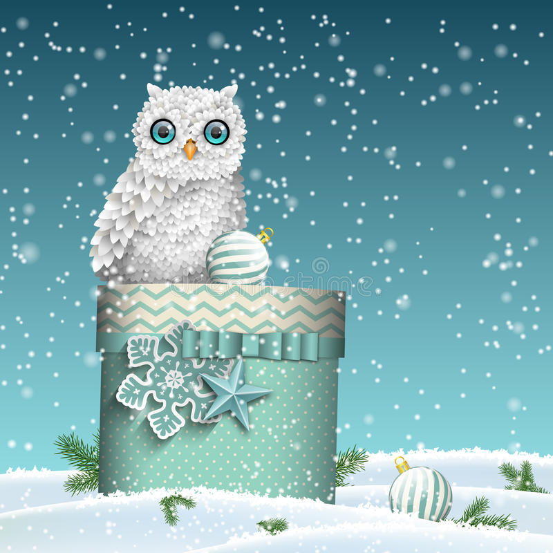 Free Christmas Theme, White Owl Sitting On Blue Gift Box In Snowy Landscape, Illustration Stock Photos - 77983863