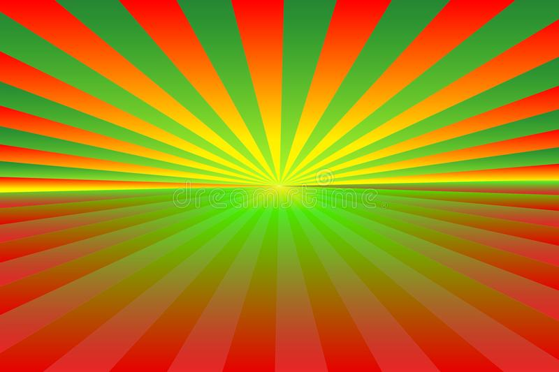 Christmas-themed background. Abstract sunburst pattern of gradient green, red, orange and yellow rays; bottom copy-space for text. royalty free illustration