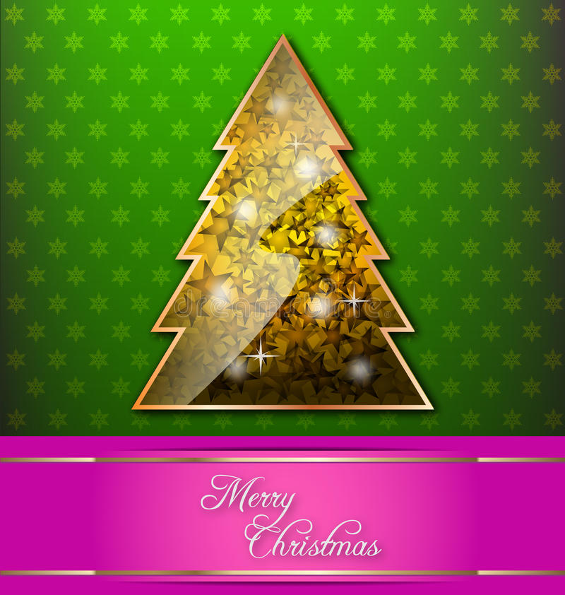 Christmas-themed decorative wallpaper. With Christmas tree and red banner royalty free illustration