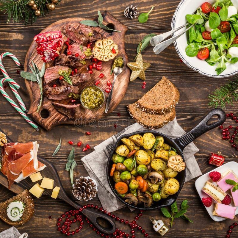 Christmas themed dinner table stock photos