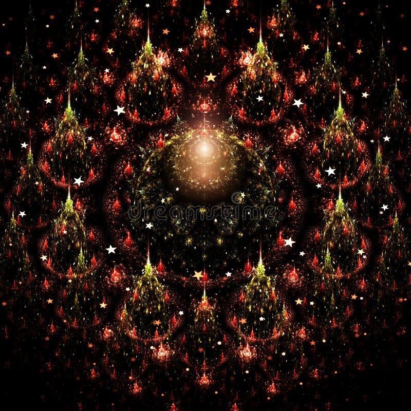 Christmas themed fractal trees. Digital artwork for creative graphic design vector illustration