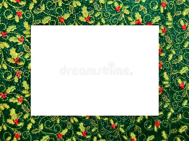 Christmas themed picture frame, holly pattern. Raised, ceramic appearance . Could be used for Christmas pictures or announcements vector illustration