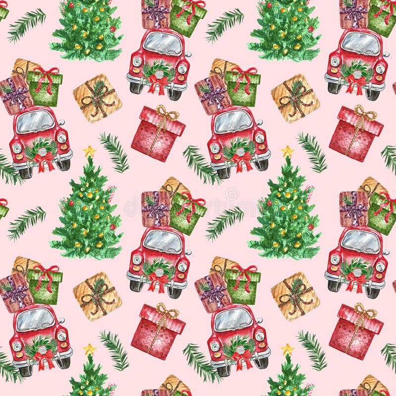Christmas themed seamless pattern with watercolor symbols of winter holidays. Hand painted red car with gift boxes and tree stock photography