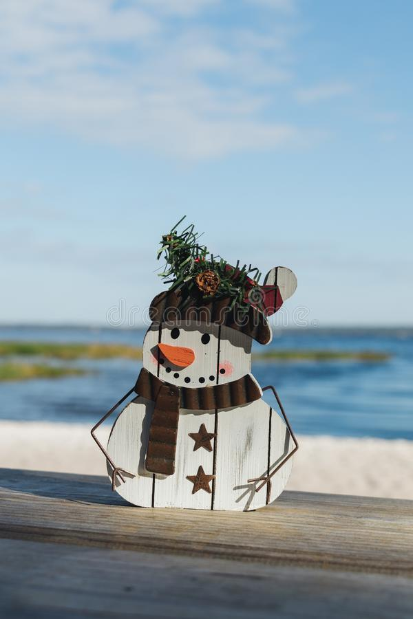 Christmas themed snowman craft at Lake Louisa State Park in Clermont, Florida. Christmas in Florida concept, snowman craft on the shores of Lake Louisa in royalty free stock photo