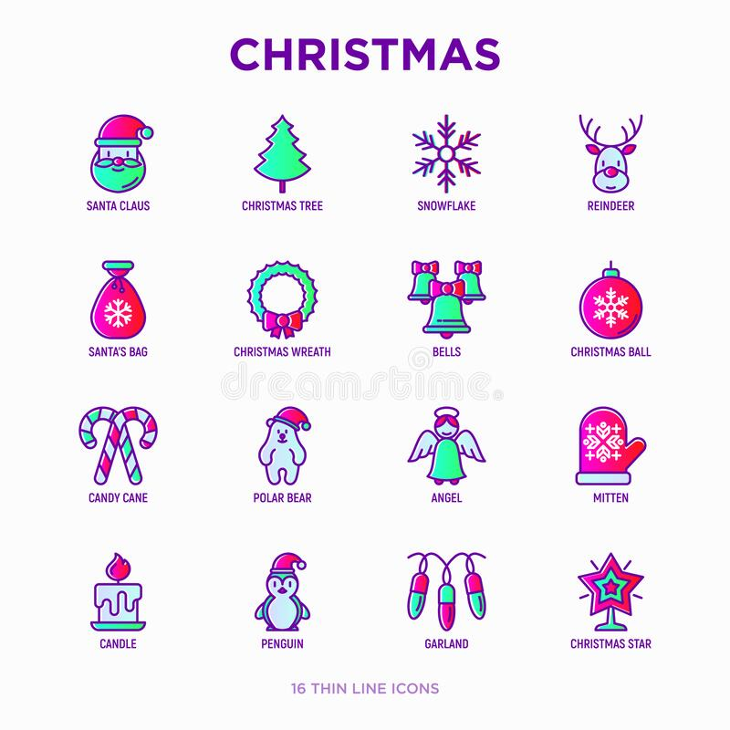 Free Christmas Thin Line Icons Set: Santa Claus, Snowflake, Reindeer, Wreath, Bells, Decoration, Candy Cane, Polar Bear In Hat, Angel, Royalty Free Stock Photos - 187778298