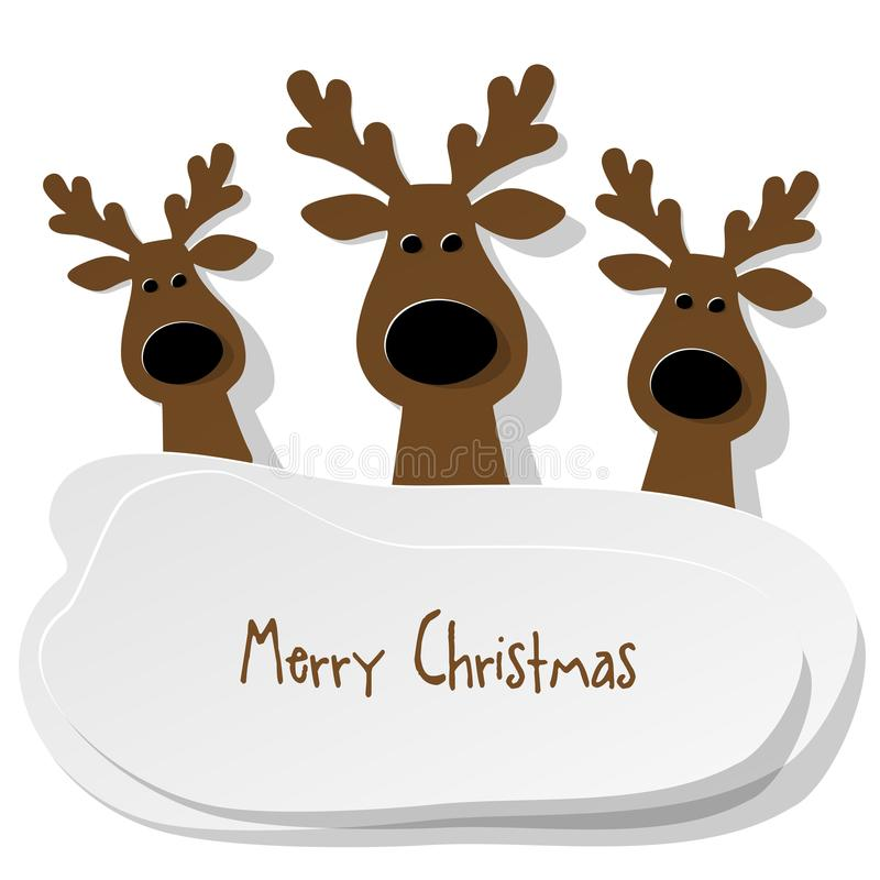 Christmas three Reindeers brown on a white background. vector illustration