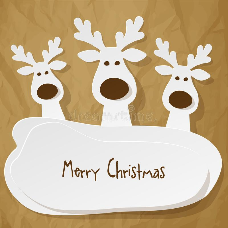 Christmas three Reindeers white on a crumpled paper brown background. vector illustration