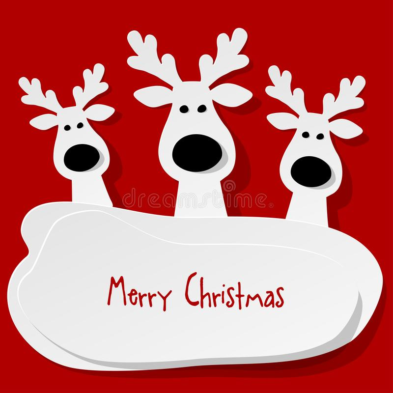 Christmas three Reindeers white on a red background. vector illustration