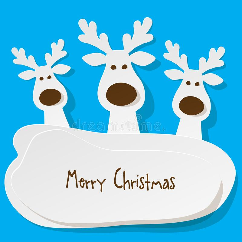 Christmas three Reindeers white on a on turquoise background. royalty free illustration