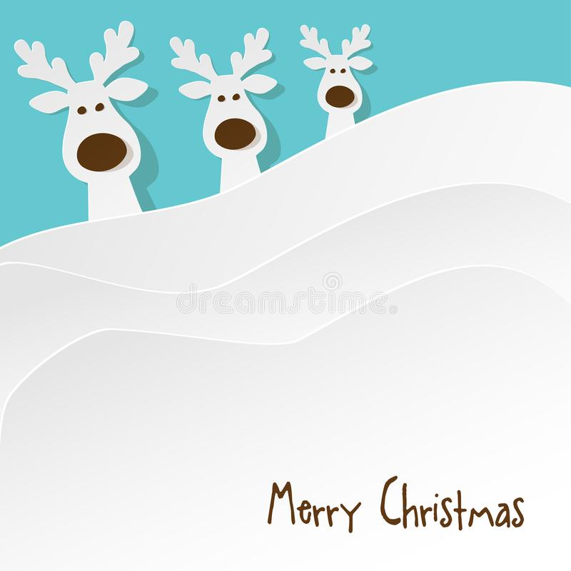 Christmas three Reindeers white on a on turquoise background. stock illustration