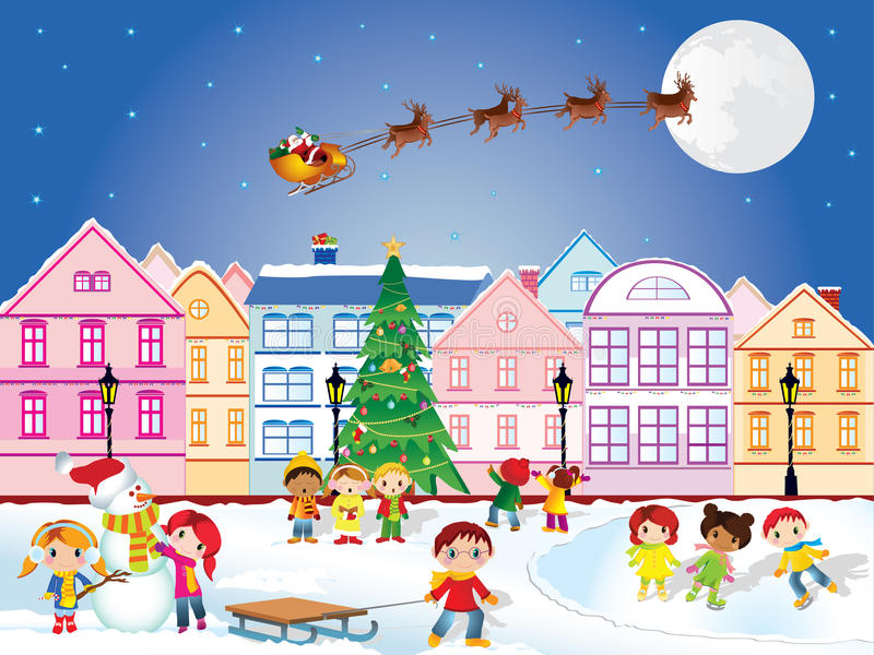 Christmas time. Vector illustration of christmas scenery with children playing