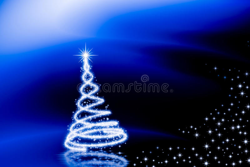 Christmas time. Shiny christmas tree with stars on blured blue abstract background stock illustration