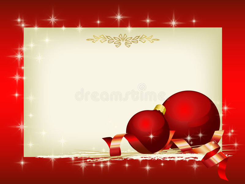 Christmas time. Christmas decoration with red balls and blank area