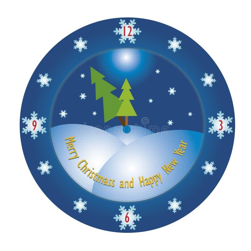 Christmas time. Abstract clock stock image