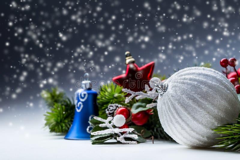 Christmas Time. Christmas card with ball fir and decor on glitter background. Xmas stock photo