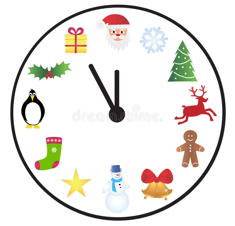 Download Christmas time clock stock vector. Illustration of objects - 16941554