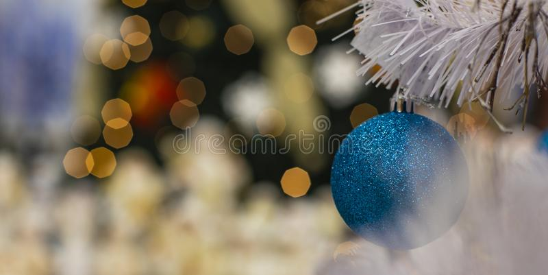 Christmas time concept post cart concept wallpaper pattern of white needle branch with blue ball decorative toy and garland lights royalty free stock photos