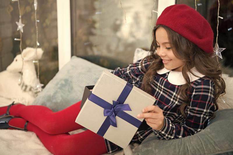Christmas time. Family. happy new year. The morning before Xmas. Childhood. delivery christmas gifts. happy little girl. Celebrate winter holiday. Watching royalty free stock image