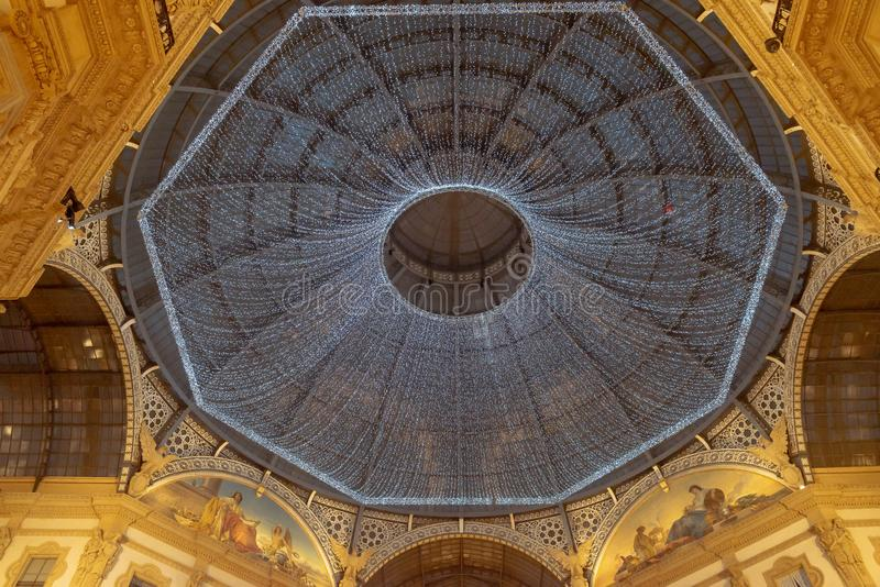 Christmas time 2018 Galleria Vittorio Emanuele II decoration lights. Decoration with thousands of bulb lights hanging below the top of the Galleria Vittorio royalty free stock photography