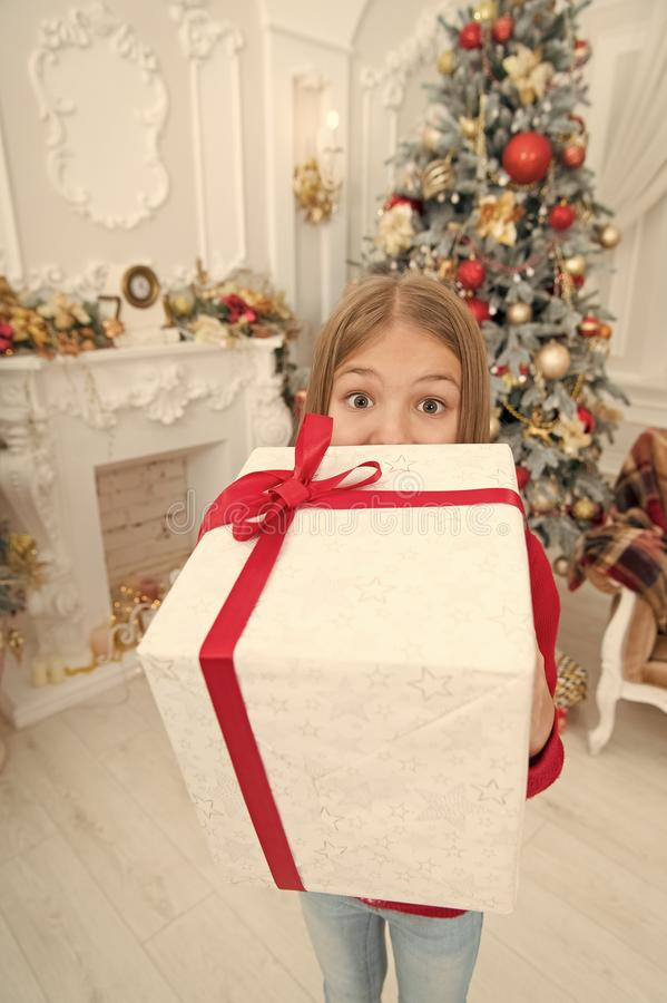 Christmas is time for giving. Happy new year. Winter. Christmas tree and presents. xmas online shopping. Family holiday. The morning before Xmas. Little girl royalty free stock photography