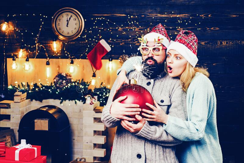 Christmas time. Home Holiday. New year party in home. New year sale. Creative boom. Christmas Santa claus with bomb. royalty free stock photography