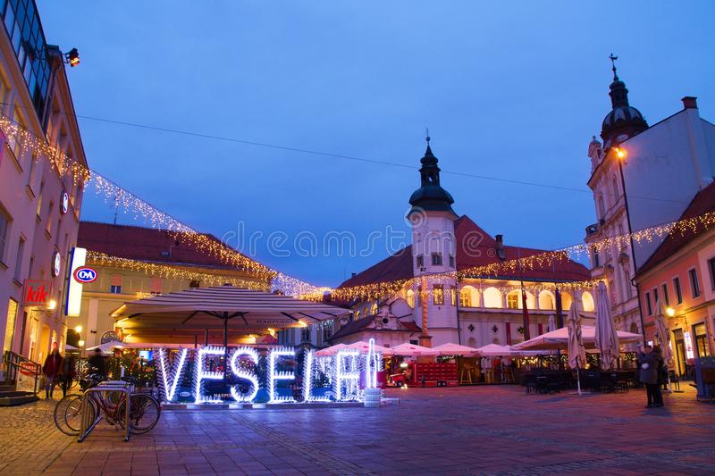Christmas Time In Maribor, Slovenia. Christmas decoration of Grajski Trg in Maribor, Slovenia royalty free stock image