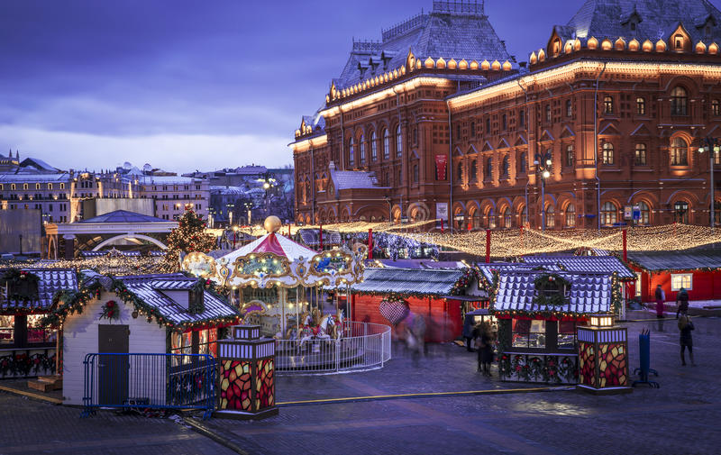 Christmas time in Moscow royalty free stock images