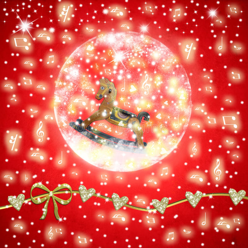 Christmas Time musical greeting card royalty free illustration