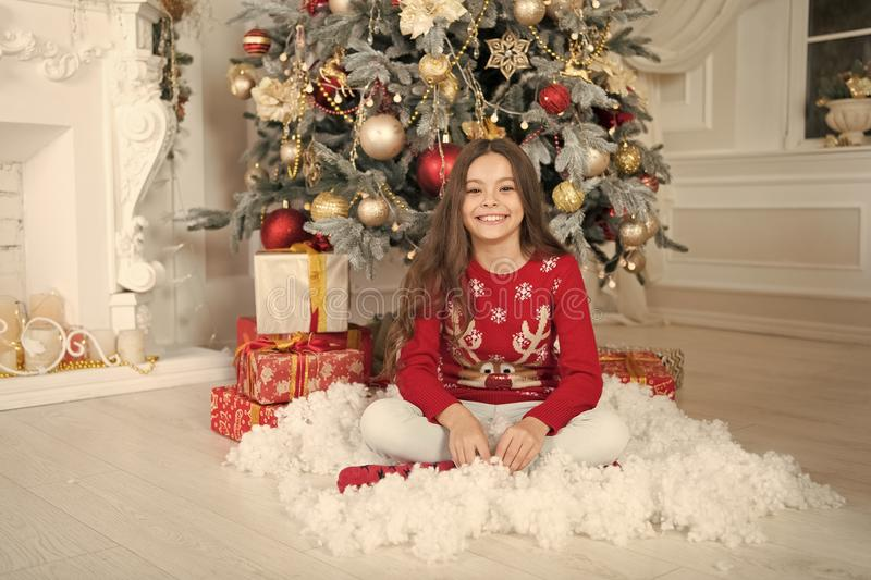 Christmas time. New year new me. Family. happy new year. happy little girl celebrate winter holiday. The morning before stock photography