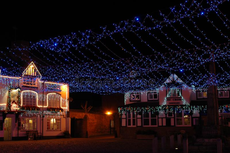 Christmas time by night at the cobbles in sandbach, cheshire, england. United kingdom stock images