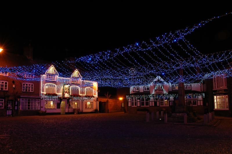 Christmas time by night at the cobbles in sandbach, cheshire, england. United kingdom royalty free stock photo