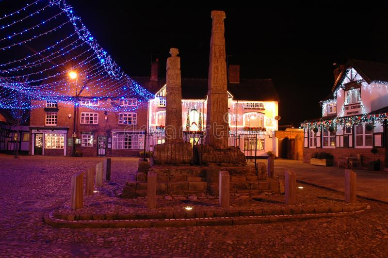 Christmas time by night at the cobbles in sandbach, cheshire, england. United kingdom royalty free stock images