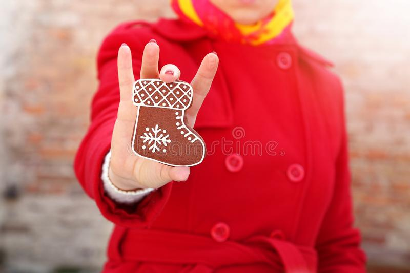 Christmas time outdoor with a cookie royalty free stock image