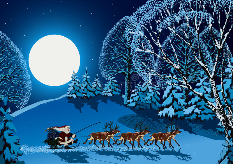 Christmas time. Vector illustration of Santa Claus riding on reindeer sleigh through forest in Christmas time stock illustration